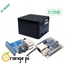 Orange Pi rinkinys: Orange Pi Zero + praplėtimo plokštė + dėžutė